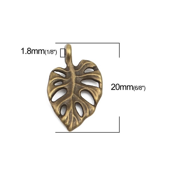 PS110257224 PAX 25 pendentifs Feuille de Montserrat 20 mm métal coloris Bronze - Photo n°3
