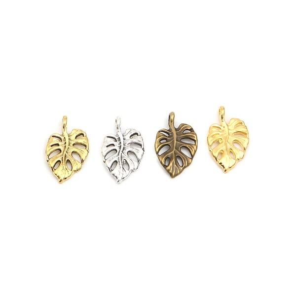 PS110257224 PAX 25 pendentifs Feuille de Montserrat 20 mm métal coloris Bronze - Photo n°4