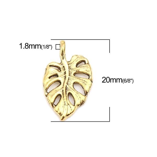 PS110257226 PAX 25 pendentifs Feuille de Montserrat 20 mm métal coloris Or Antique - Photo n°2