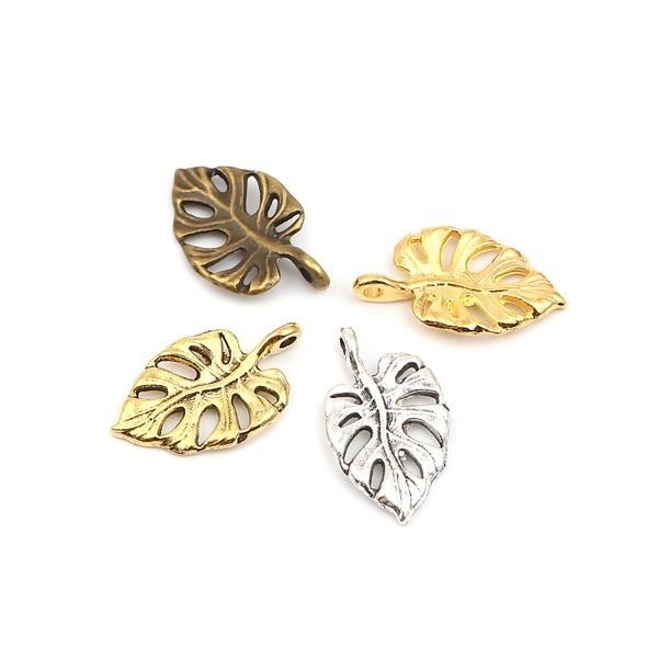 PS110257226 PAX 25 pendentifs Feuille de Montserrat 20 mm métal coloris Or Antique - Photo n°3