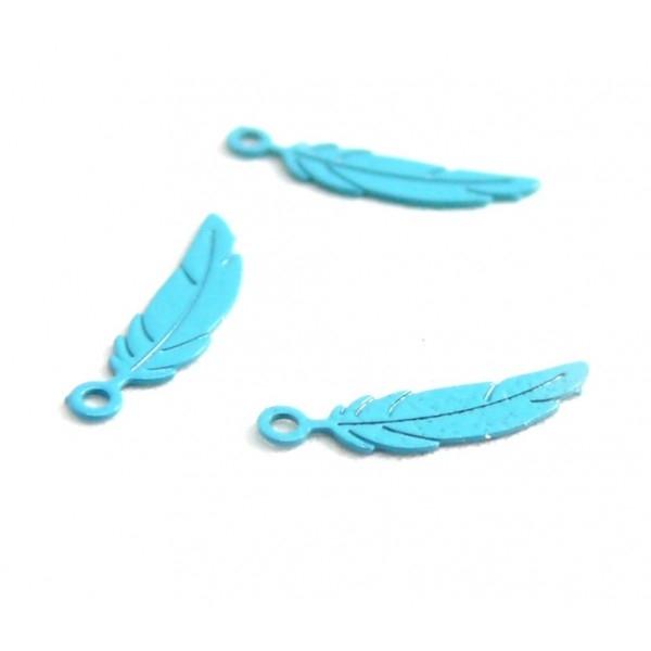 AE11110375 Lot de 10 Estampes pendentif filigrane petites Plumes 3 par 12 mm Coloris Bleu Turquoise - Photo n°1