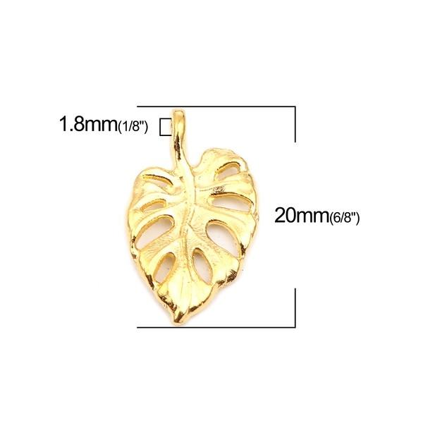 PS110257223 PAX 25 pendentifs Feuille de Montserrat 20 mm métal coloris Doré - Photo n°3