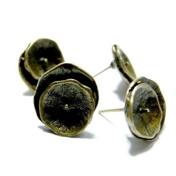 Lot de 6 Supports de Boucle d'oreille Puce Fleurs Double Laiton Couleur Bronze - Photo n°1