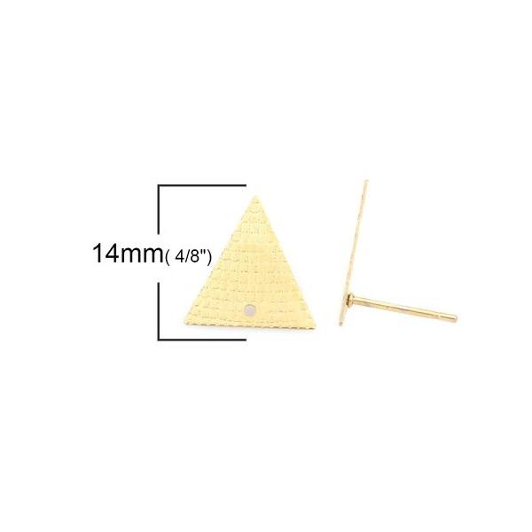 PS110214884 PAX 4 boucles d'oreille puce Triangle 14 mm avec trou Acier Inoxydable 304 couleur Doré - Photo n°2