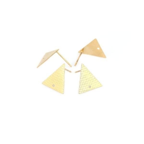 PS110214884 PAX 4 boucles d'oreille puce Triangle 14 mm avec trou Acier Inoxydable 304 couleur Doré - Photo n°3