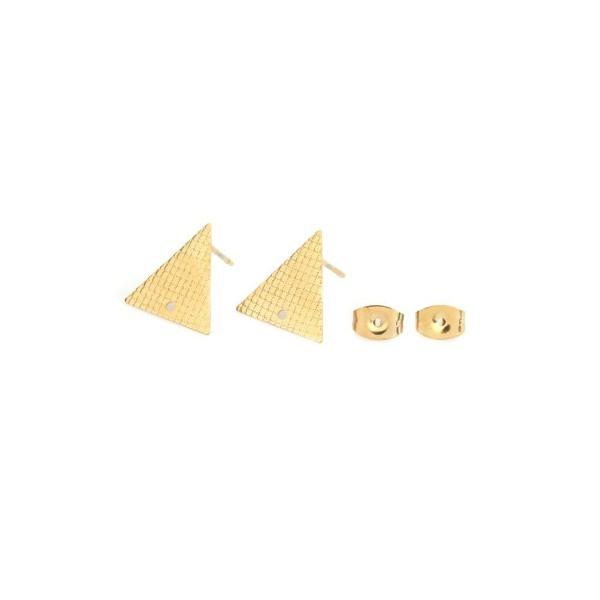 PS110214884 PAX 4 boucles d'oreille puce Triangle 14 mm avec trou Acier Inoxydable 304 couleur Doré - Photo n°1