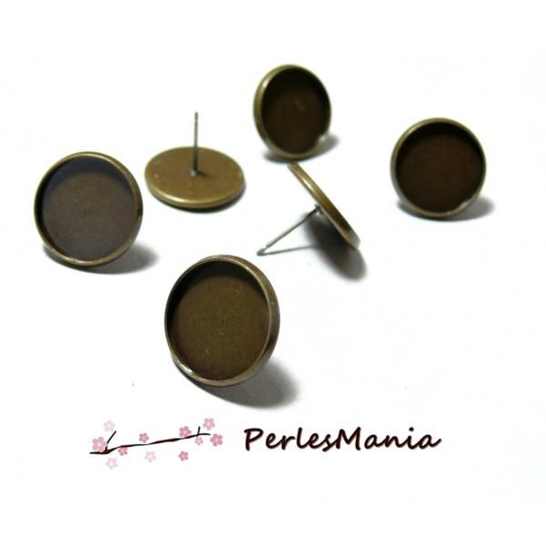 PAX 20 Supports de Boucle d'oreille Puce Laiton coloris Bronze 10mm - Photo n°1