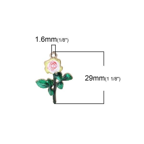 PS110101642 PAX 4 pendentifs Fleurs résine style émaillés 29 mm sur métal doré - Photo n°2
