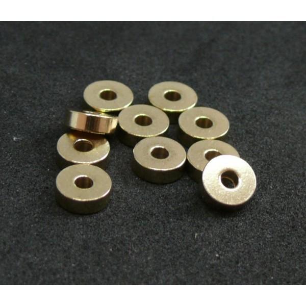 Ref 141114163006 PAX de 20 Perles intercalaires Rondelles 6 mm Laiton couleur Doré - Photo n°1
