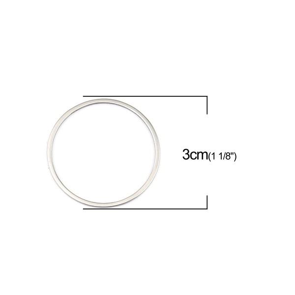 PS110256721 PAX 5 Pendentifs connecteur Cercle 30 mm en Acier Inoxydable 304 - Photo n°2