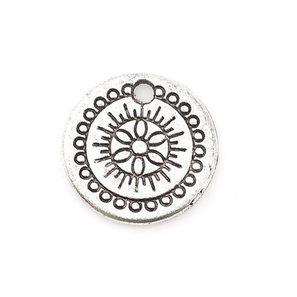 PS110117996 PAX 25 pendentifs, breloques Médaillon Travaillé 14 mm métal couleur Argent Antique - Photo n°2