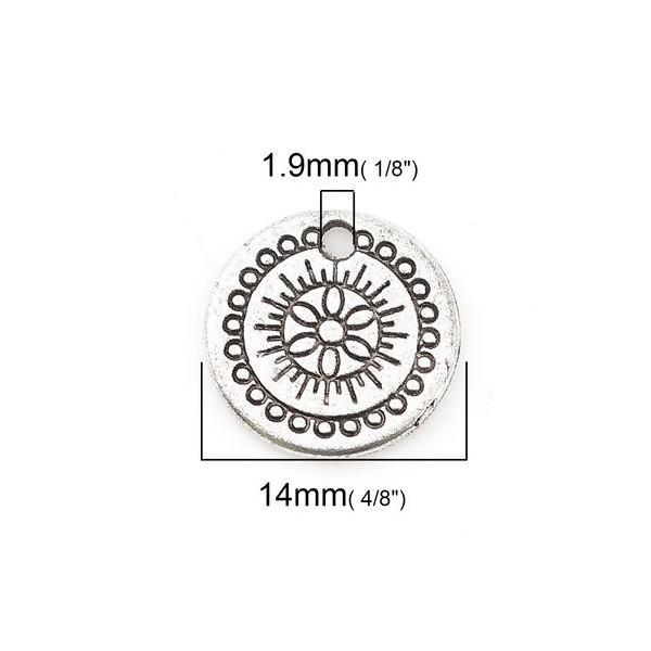 PS110117996 PAX 25 pendentifs, breloques Médaillon Travaillé 14 mm métal couleur Argent Antique - Photo n°3