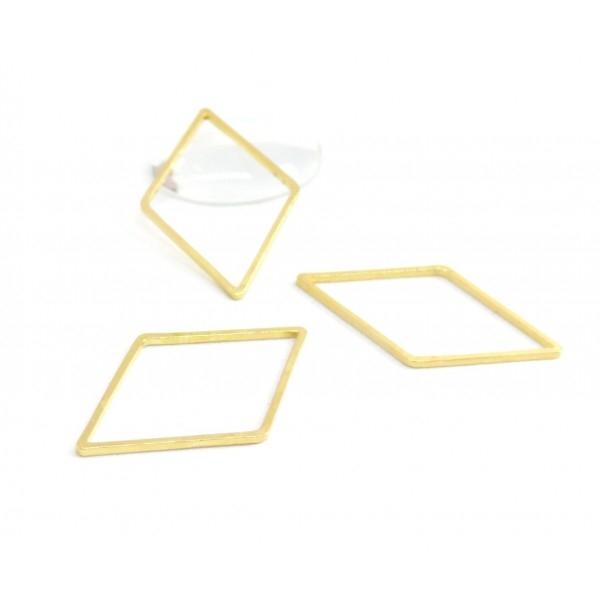 170926134757 PAX 10 pendentifs connecteur fermé forme Losange 33mm Laiton couleur Doré - Photo n°1