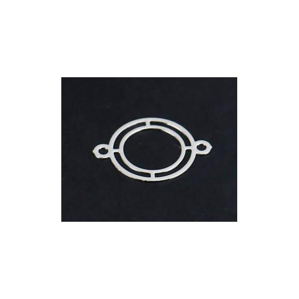 PS110216360 PAX 20 Estampes Connecteur Double Cercle 16 mm Cuivre coloris Argent Platine - Photo n°3