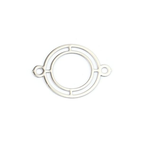 PS110216360 PAX 20 Estampes Connecteur Double Cercle 16 mm Cuivre coloris Argent Platine - Photo n°1