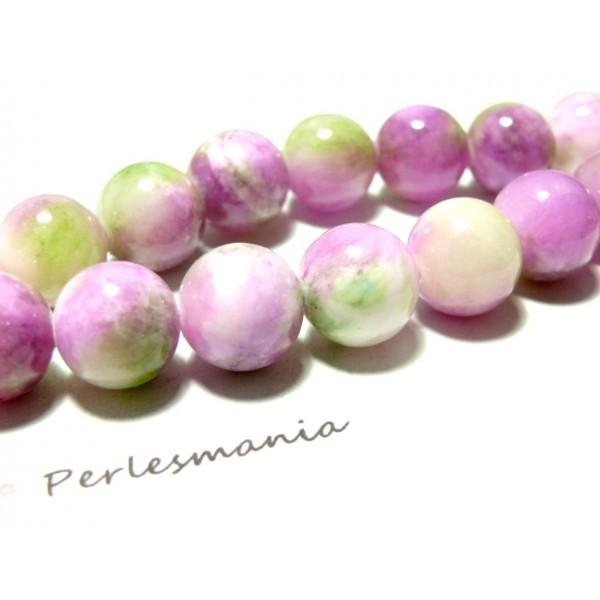 1 fil de 95 perles Rondes Jade teintée 4mm Rose Violet Vert R73083 - Photo n°2