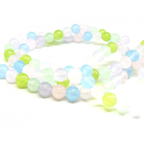 1 fil d'environ 48 perles rondes JADE Pastel Multicolores 8 mm couleur A30 - Photo n°1