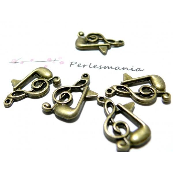 Lot de 20 pendentifs, breloques Note de musique métal coloris Bronze ref 2D1613 - Photo n°1