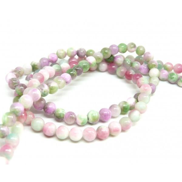 1 fil de 70 perles Rondes Jade teintée 6mm Rose Violet Vert R73083 - Photo n°2