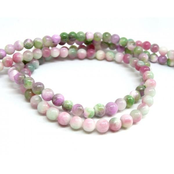 1 fil de 70 perles Rondes Jade teintée 6mm Rose Violet Vert R73083 - Photo n°1