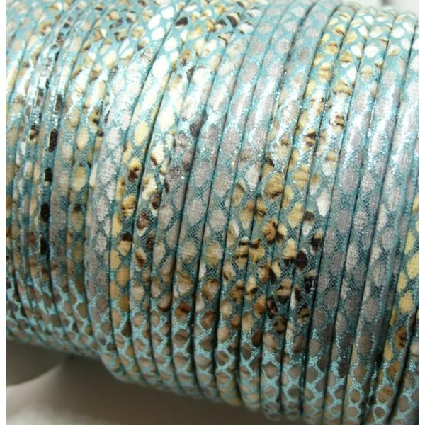 H6A308 Lot de 3 mètres cordon 3 mm Imitation simili cuir serpent Bleu Clair - Photo n°2