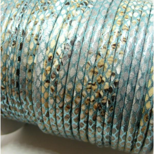H6A308 Lot de 3 mètres cordon 3 mm Imitation simili cuir serpent Bleu Clair - Photo n°1