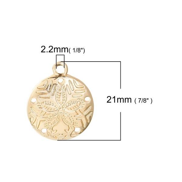 PS110085656 PAX 5 pendentifs Dollars des Sables 21 mm sur métal doré - Photo n°2