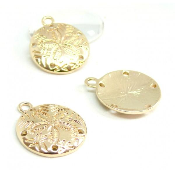 PS110085656 PAX 5 pendentifs Dollars des Sables 21 mm sur métal doré - Photo n°1