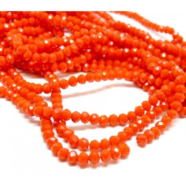 1 fil d'environ 149 perles Rondelles Verre Facettée Orange Foncé 4 par 3mm I033 Couleur 06BIS - Photo n°1