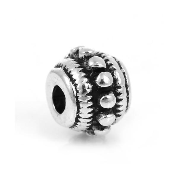 PS1177403 PAX de 20 perles intercalaires Rondelles Picots 8 par 6 mm métal couleur Argent Antique - Photo n°2