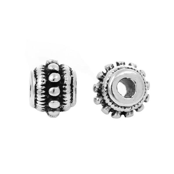 PS1177403 PAX de 20 perles intercalaires Rondelles Picots 8 par 6 mm métal couleur Argent Antique - Photo n°3