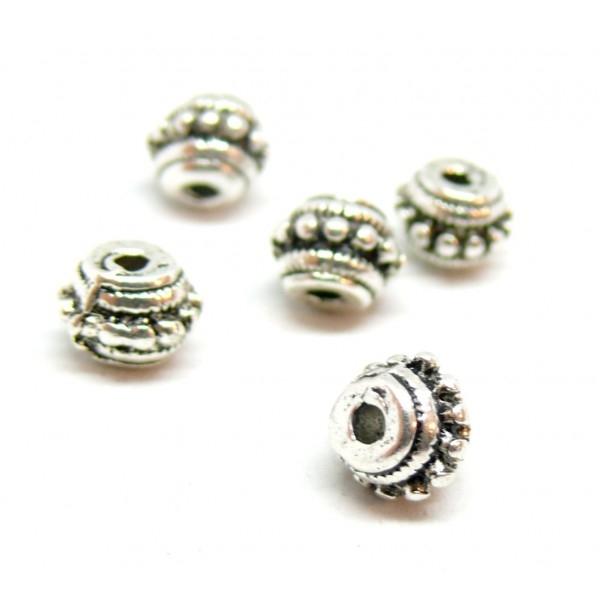 PS1177403 PAX de 20 perles intercalaires Rondelles Picots 8 par 6 mm métal couleur Argent Antique - Photo n°1