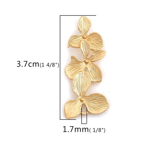 PS110120914 PAX 4 pendentifs Cascade de Fleurs 37 mm métal coloris OR Mate - Photo n°2