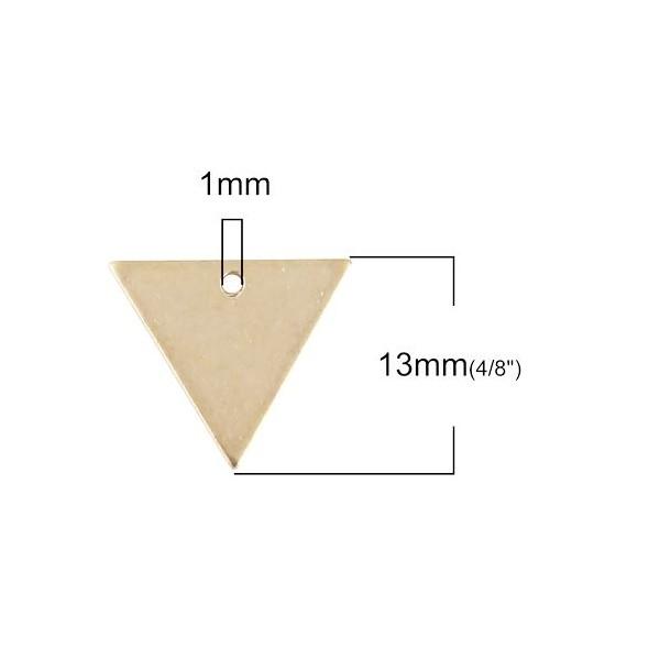 PS110100117 PAX 10 pendentifs Triangle 15 mm qualité Cuivre - Photo n°2