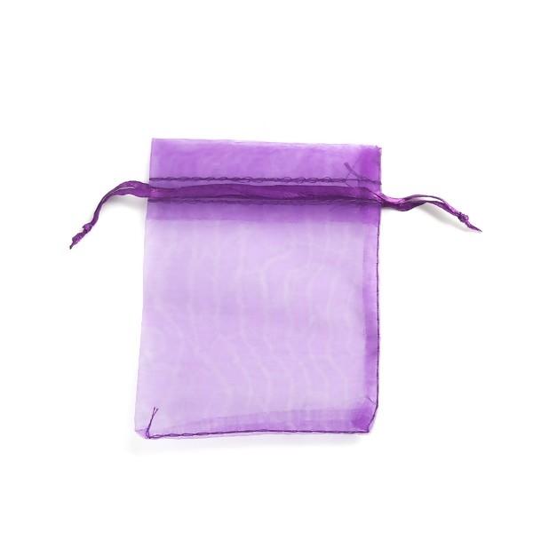 PS110221710 PAX 20 Pochettes Organza Violet 80 par 100 mm pour bijoux , baptême, mariage - Photo n°3