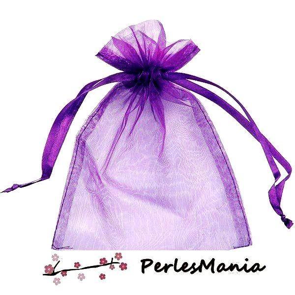 PS110221710 PAX 20 Pochettes Organza Violet 80 par 100 mm pour bijoux , baptême, mariage - Photo n°1
