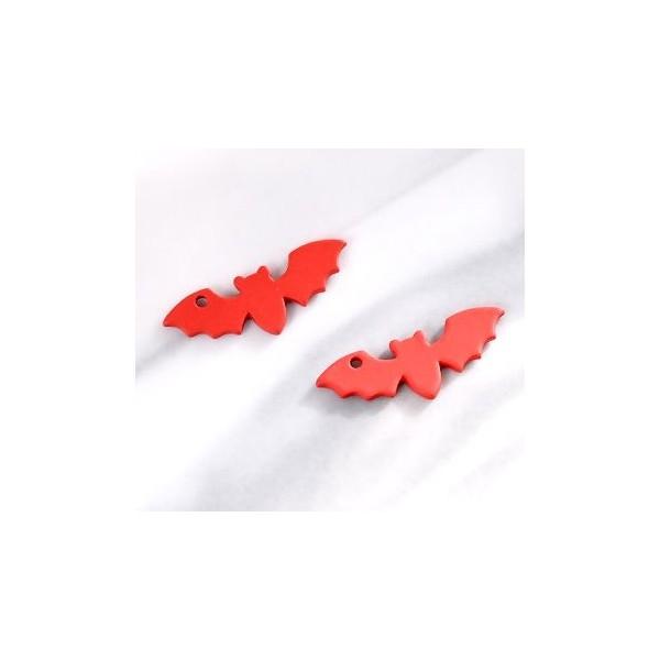 PS11652978 PAX 4 Pendentifs Halloween Chauve Souris métal coloris Rouge - Photo n°1