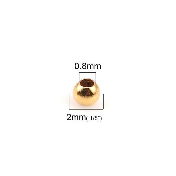 PS1134077 PAX 200 perles intercalaires Bille 2mm Cuivre couleur Doré - Photo n°2