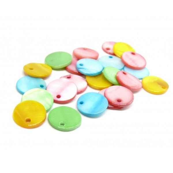 HP304 PAX 20 Perles Pendentifs Nacre Pastilles 15mm Multicolores - Photo n°1