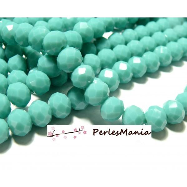 1 fil d'environ 68 Perles Rondelles Verre Facetée Bleu Lagon 8 par 6mm F001B01 - Photo n°1