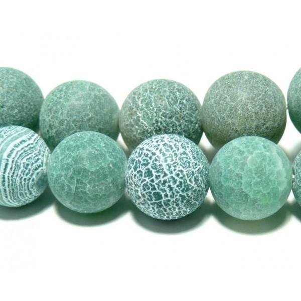 1 fil d'environ 49 perles Agate craquelé 8mm effet givre Vert d'eau H589 coloris 08 - Photo n°1