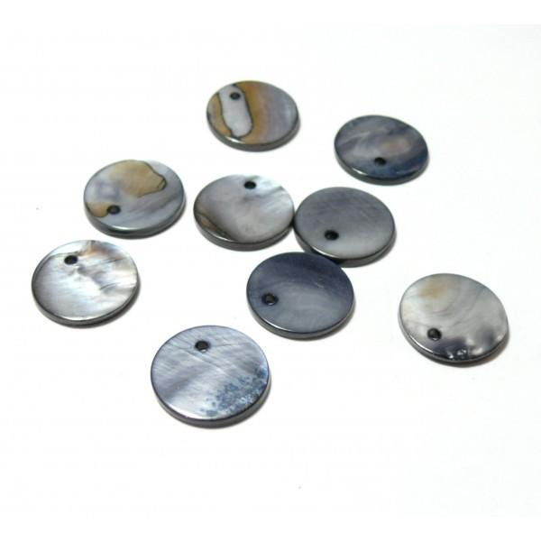 H304B PAX 20 Perles Pendentifs Nacre Pastilles 15mm couleur Gris - Photo n°1