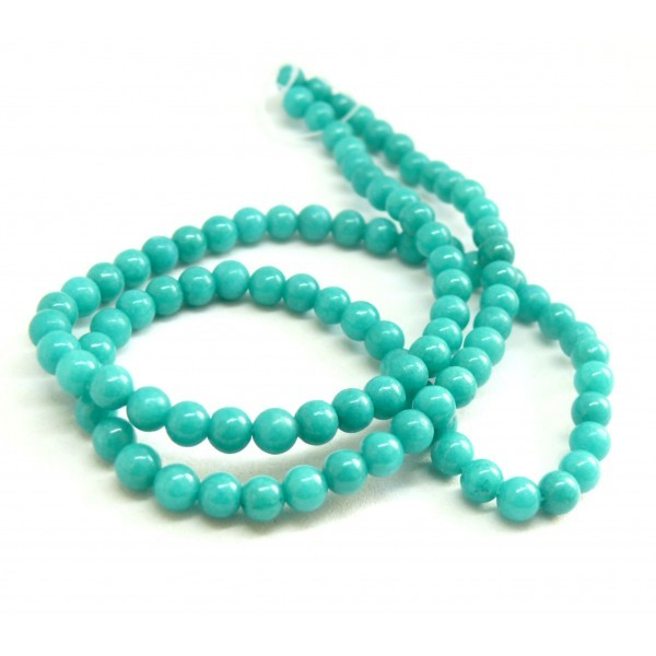 HXS15 Lot 1 fil d'environ 69 perles rondes Jade Mashan Bleu Canard 6 mm - Photo n°1