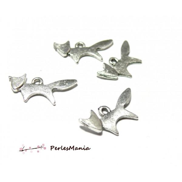 PSK03688 PAX 25 breloques PETIT RENARD metal Argent Antique - Photo n°1
