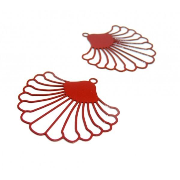 AE115017 Lot de 2 Estampes pendentif filigrane style Eventail 38 mm Coloris Rouge - Photo n°1