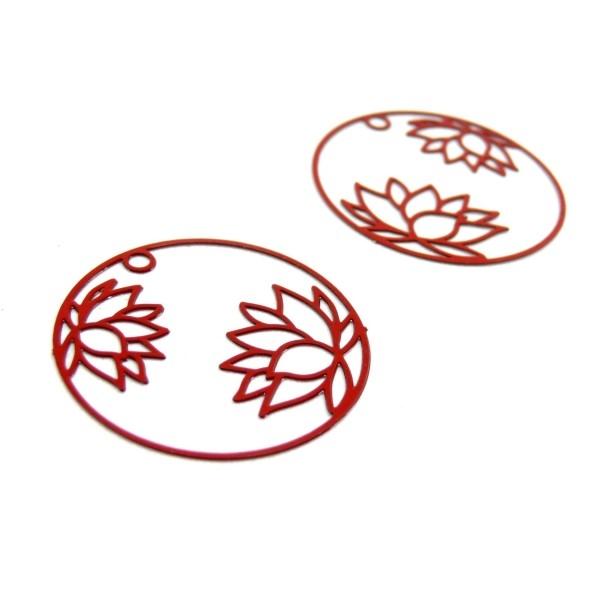 AE115405 Lot de 4 Estampes pendentif filigrane Fleur de Lotus dans Cercle 27 mm Cuivre coloris Rouge - Photo n°1