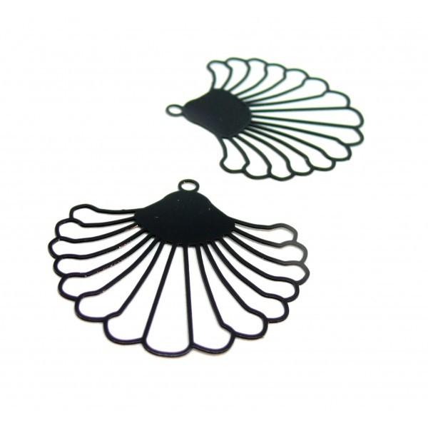 AE115017 Lot de 2 Estampes pendentif filigrane style Eventail 38 mm Coloris Noir - Photo n°2