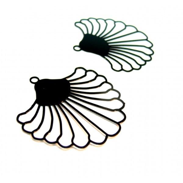 AE115017 Lot de 2 Estampes pendentif filigrane style Eventail 38 mm Coloris Noir - Photo n°1