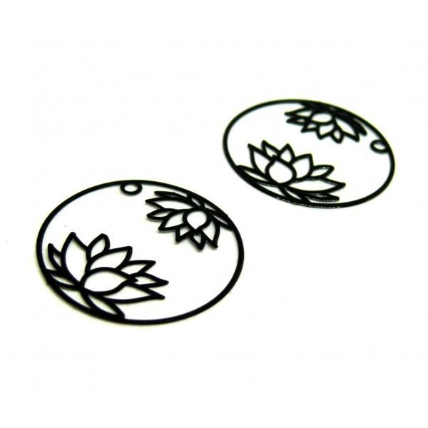 AE115405 Lot de 4 Estampes pendentif filigrane Fleur de Lotus dans Cercle 27 mm Cuivre coloris Noir - Photo n°1