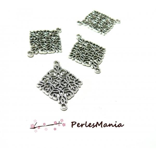 S1194141 PAX 30 pendentifs Connecteur Losange Arabesque metal couleur ARGENT ANTIQUE - Photo n°1
